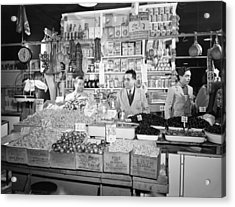 New York - Italian Grocer In The First Acrylic Print by Everett