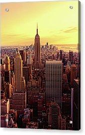 New York - Magic Hour At Top Of Rock Acrylic Print by Matt Pasant