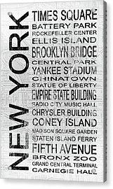 New York 1 White Subway Acrylic Print by Melissa Smith