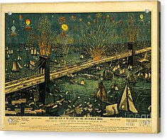 Acrylic Print featuring the photograph New York And Brooklyn Bridge Opening Night Fireworks by John Stephens