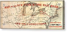 Acrylic Print featuring the photograph New York And Erie Railroad Map 1855 by Daniel Hagerman