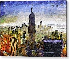 New York At Dusk Van Gogh Style Acrylic Print