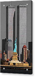 New York 911 Memory - Twin Towers And Statue Of Liberty Acrylic Print