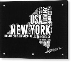 New York Black And White Word Cloud Map Acrylic Print by Naxart Studio