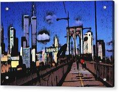 New York Blue - Modern Art Acrylic Print by Art America Gallery Peter Potter