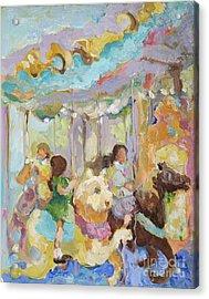 New York Carousel Acrylic Print by Sharon Furner