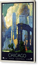 New York Central Lines, Chicago - Retro Travel Poster - Vintage Poster Acrylic Print