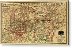 New York Central Lines Railway Map Vintage Circa 1918 On Worn Distressed Parchment Acrylic Print by Design Turnpike