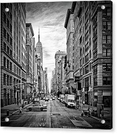 New York City 5th Avenue - Monochrome Acrylic Print