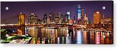 New York City Brooklyn Bridge And Lower Manhattan At Night Nyc Acrylic Print by Jon Holiday