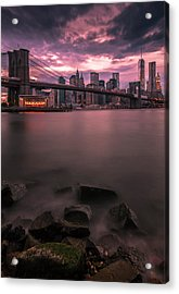 Acrylic Print featuring the photograph New York City Brooklyn Bridge Sunset by Ranjay Mitra