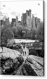 Acrylic Print featuring the photograph New York City Central Park Ice Skating by Ranjay Mitra