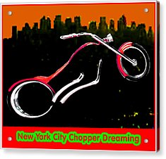 New York City Chopper Dreaming Red Jgibney The Museum Zazzle Gifts Fa Acrylic Print by The MUSEUM Artist Series jGibney