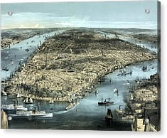 New York City Circa 1850 Acrylic Print by War Is Hell Store