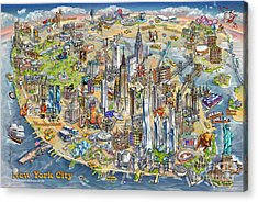 New York City Illustrated Map Acrylic Print by Maria Rabinky