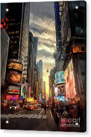 Acrylic Print featuring the photograph New York City Lights by Lois Bryan