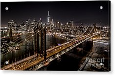 New York City, Manhattan Bridge At Night Acrylic Print by Petr Hejl