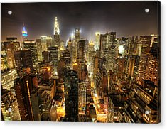 New York City Night Acrylic Print by Shawn Everhart