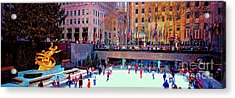 Acrylic Print featuring the photograph  New York City Rockefeller Center Ice Rink  by Tom Jelen