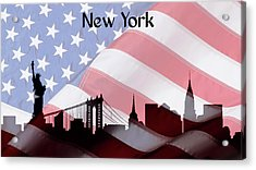 New York City Skyline American Flag Acrylic Print