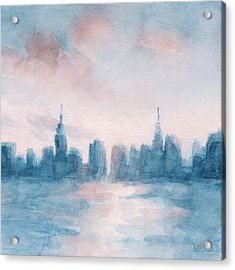 New York City Skyline Coral And Aqua Acrylic Print by Beverly Brown