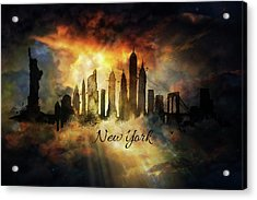 New York City Skyline In The Clouds Acrylic Print by Lilia D