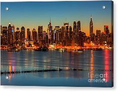 New York City Skyline Morning Twilight V Acrylic Print by Clarence Holmes