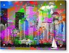 New York City Skyline Paint Splatters Pop Art Acrylic Print