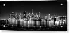 New York City Skyline Panorama At Night Bw Acrylic Print by Az Jackson