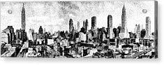 New York City Skyline Sketch Acrylic Print by Edward Fielding