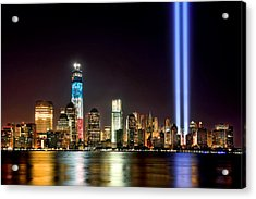 New York City Skyline Tribute In Lights And Lower Manhattan At Night Nyc Acrylic Print by Jon Holiday