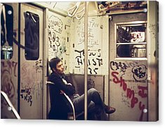 New York City Subway. A Lone Passenger Acrylic Print by Everett