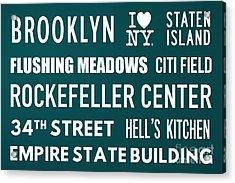 New York City Subway Sign Typography Art 15 Acrylic Print by Nishanth Gopinathan