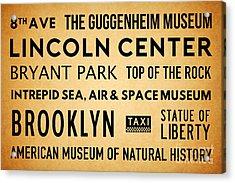 New York City Subway Sign Typography Art 19 Acrylic Print by Nishanth Gopinathan