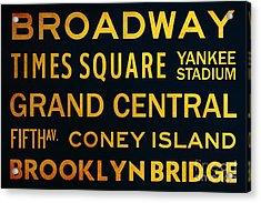 New York City Subway Sign Typography Art 2 Acrylic Print by Nishanth Gopinathan