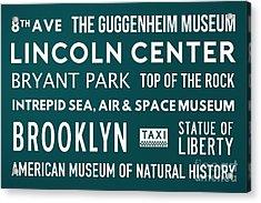 New York City Subway Sign Typography Art 21 Acrylic Print by Nishanth Gopinathan