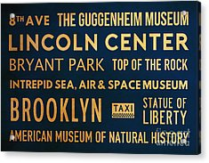 New York City Subway Sign Typography Art 22 Acrylic Print by Nishanth Gopinathan