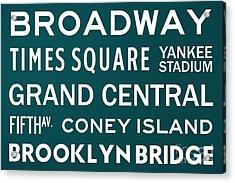 New York City Subway Sign Typography Art 3 Acrylic Print by Nishanth Gopinathan