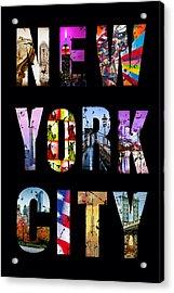 New York City Text 1 Acrylic Print by Az Jackson