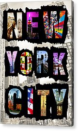 New York City Text 2 Acrylic Print by Az Jackson