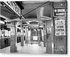 New York City Transit Strikes Leaves Grand Central Station Bare. 1980 Acrylic Print by William Jacobellis