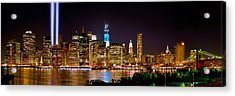New York City Tribute In Lights And Lower Manhattan At Night Nyc Acrylic Print by Jon Holiday