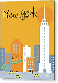 New York City Vertical Skyline - Empire State At Dawn Acrylic Print by Karen Young