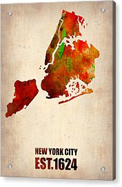 New York City Watercolor Map 2 Acrylic Print by Naxart Studio
