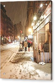 New York City - Winter Night - Snow In The City Acrylic Print by Vivienne Gucwa