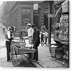 New York Clam Seller In Mulberry Bend 1900 Acrylic Print by Padre Art