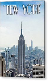 New York Classic View With Text Acrylic Print