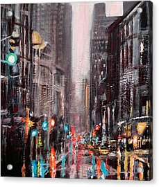 New York Dusk Rain Acrylic Print by Paul Mitchell