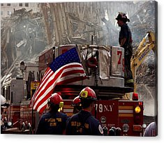 New York Firefighters And Salt Lake Acrylic Print