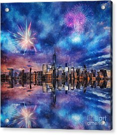 Acrylic Print featuring the photograph New York Fireworks by Ian Mitchell